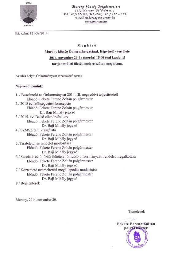 Testületi ülés meghívó 2014.11.26.