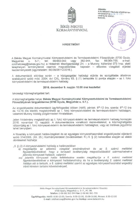 Hirdetmény Hidasháti Mg.Zrt.-1