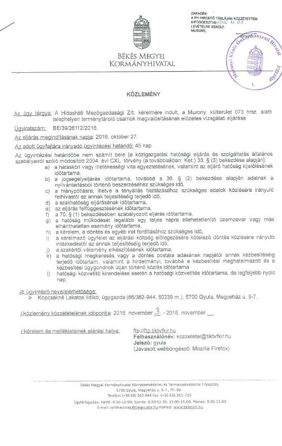Közlemény Hidasháti Mg.Zrt.-1