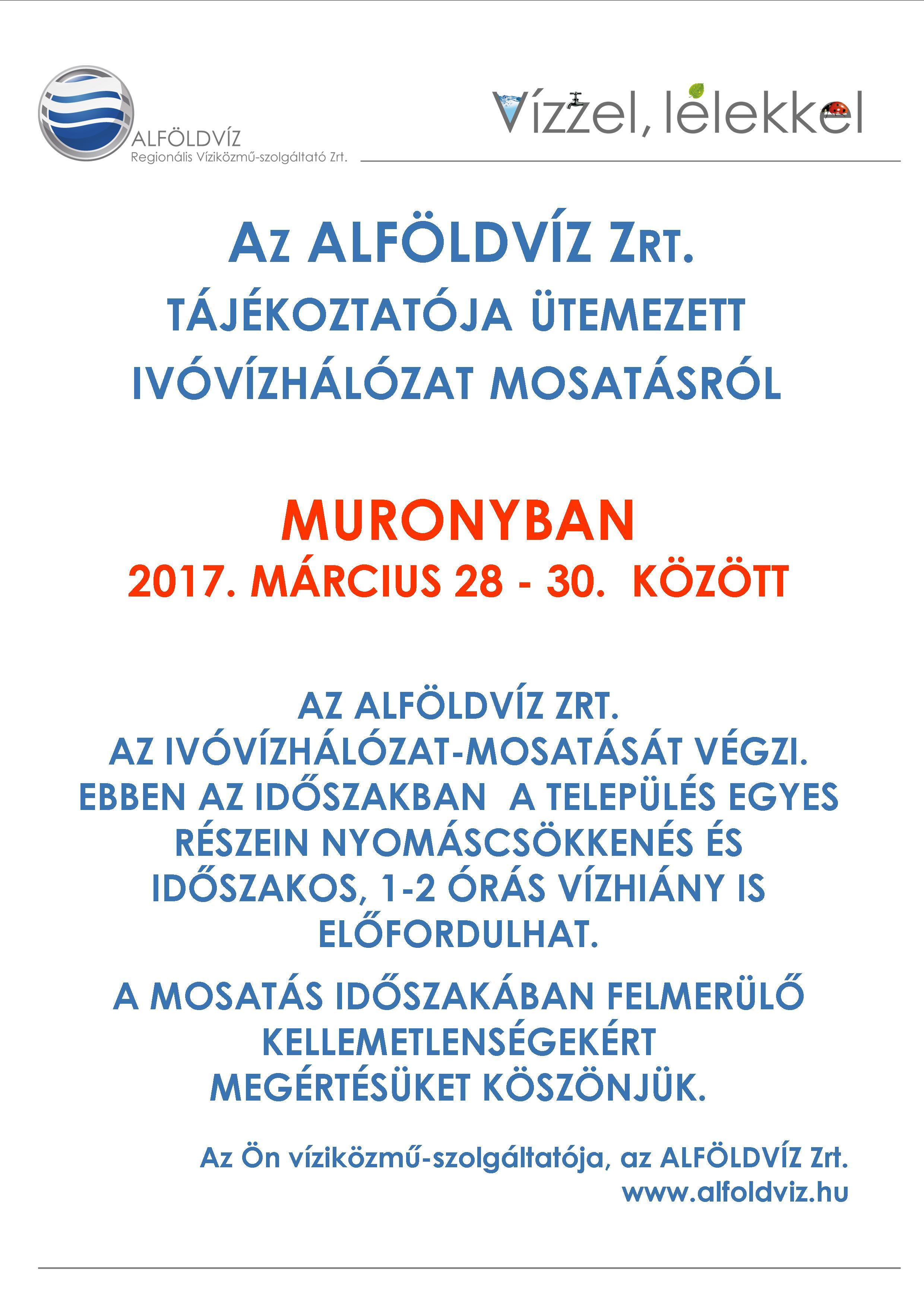 Alföldvíz plakát - ütemezett hálózatmosatás - Murony