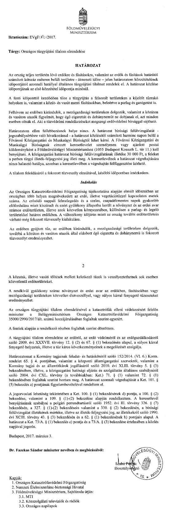 Országos tűzgyújtási tilalom határozat 2017-1